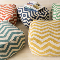 None - Large Square Chevron 24-inch Pouf - Crown your space in classic chevron with the 24-inch cube pouf ottoman. Constructed of 100-percent wool,this piece features a chevron pattern in your choice of orange,yellow,green,blue and teal.