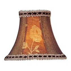 Livex Lighting Inc - Livex Chandelier Shade Burgundy Floral Panel Bell clip with Fancy Trim -S140 - Clip on Shade