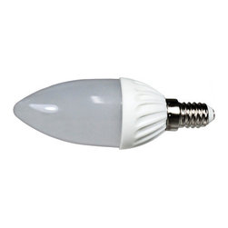 Cool White 3w LED Frosted Candle Light Bulb - E14 Base - This LED 3 watt Cool White Frosted Candle bulb (also know as candelabra or torpedo bulb) is a great replacement for your 40 watt incandescent or halogen traditional bulb. Offering a 50,000 hour bulb life at significantly lower wattage use, there is no easier way to save on your energy and maintenance costs.