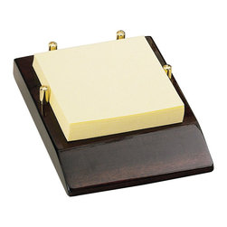 Howard Miller - Howard Miller Note Pad Caddy II - Howard Miller - Accessories - 655107 - Convenient desk note paper caddy on a stylish rosewood finish base with brass retainer posts and protective felt bottom.
