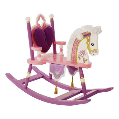 """Levels of Discovery - Kiddie-Ups Princess Rocking Horse - Removable padded backrest with cut-out detail Silky satin mane & ears Regal banner with gold tasselsRemovable padded backrest. Satin mane and ears. Banner with tassels. Understamp beneath the seat for personalization. All seats have a """"personalizable"""" understamp"""