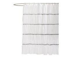 Lush Decor - Twinkle White Shower Curtain - Includes 1 Shower curtain. Fabric Content:100% Polyester. Care Instructions: Dry clean. 72 in. W x 72 in. H This shower curtain made from high quality microfiber really creates a glittering atmosphere for your bathroom with rows of sequins set off by ruching the fabric which gives the surface a soft rippling effect. Bring a little Hollywood right into your home.
