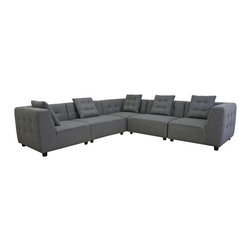 Baxton Studio - ALCOA Modern Gray Fabric Modular Modern Sectional Sofa - Easily tackle the challenge of a small space or unique area with the endless possibilities of a modular sectional. The Alcoa Sectional consists of 5 separate pieces that can be rearranged to create the sectional of your dreams. This beautiful modern design is made with a durable solid wood frame, foam cushioning, and slate gray twill upholstery. Completing your new look are black cylindrical wood legs with felt pads as well as matching slate grey twill throw pillows with removable covers (1 pillow per section). Note: the main upholstery is fully sewn and non-removable; the pieces are all freestanding and do not secure to one another. Minor assembly is required.