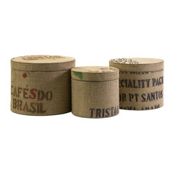 Vintage South America  Jute Fabric Round Boxes - Set of 3 - *This set of three round boxes are great for office storage and feature a jute fabric exterior and stencil typographic design.