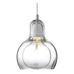 &Tradition - Mega Bulb Pendant by &Tradition - The &Tradition Mega Bulb Pendant by Sofie Refer, though superior in size, is actually the younger sister of Bulb. The Mega Bulb Pendant features mouth-blown, transparent glass and was designed specifically to showcase a clear, globe-shaped lamp. It is offered by &Tradition of Copenhagen and offered in the US by Ameico.