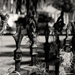 The Andy Moine Company LLC - Iron Fence Spanish Moss New Orleans Louisiana Fine Art Black & White Photography - Black and White Fine Art Photography captured with 35MM Ilford Film and reproduced on Canvas OR Brushed Aluminum. This is a beautiful composition of a Decorative Iron Fence draped in Spanish Moss in the Garden District of the always Majestic - New Orleans, Louisiana.