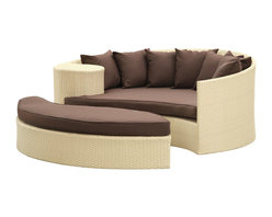 Modway Furniture - Modway Taiji Daybed in Tan Brown - Daybed in Tan Brown belongs to Taiji Collection by Modway Harmonize inverse elements with this radically pleasing daybed set. Seven plush throw pillows adorn Taiji's thick all weather orange cushions allowing for the splendorous blending of mediating elements. Find the key to attainment as you bask in a charged and unified landscape of expansiveness. Set Includes: One - Taiji Outdoor Wicker Patio Daybed One - Taiji Outdoor Wicker Patio Ottoman Seven - Taiji Outdoor Wicker Patio Throw Pillows Daybed (1), Ottoman (1)