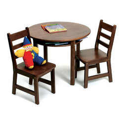 Lipper International - Kids' 3 Piece Table and Chair Set - This carefully crafted children's table provides a stylish and utilitarian work area for your playroom, or for any room in your house. The shelves under the table top are ideal for holding books, crayons or other tools, keeping the table neat and presentable when it's not in use. Features: -Convenient storage shelves.-Easy to clean surface.-Includes table and two chairs.-Collection: Juvenile Furniture.-Hardware Finish: Nickel.-Distressed: No.-Powder Coated Finish: No.-Gloss Finish: No.-Table Top Material: Wood.-Table Base Material: Wood.-Hardware Material: Nickel.-Hand-Painted: No.-Number of Items Included: 3.-Pieces Included: Table and 2 chairs.-Non Toxic: Yes.-Weather Resistant: No.-Water Resistant: No.-Scratch Resistant: No.-Fade Resistant: No.-UV Resistant: No.-Stain Resistant: No.-Insect Resistant: No.-Rot Resistant: No.-Chip Resistant: No.-Table Design: Writing Table.-Table Shape: Round.-Wheels Included: No.-Rounded Corners: Yes.-Table Legs: Yes -Number of Legs: 4.-Removable Legs: Yes.-Leg Glides: No..-Seating Included: Yes -Seating Type: Standard Chairs.-Number of Chairs Included: 2.-Attached Seating: No.-Seating Material: Wood.-Seating Cushion Included: No.-Number of Chair Legs: 4.-Removable Chair Legs: Yes.-Chair Leg Glides: No.-Seating Weight Capacity: 60.-Nested Seating: Yes.-Seating Storage: No..-Table Top Organization: Yes.-Drawers Included: No.-Shelving Included: Yes -Number of Shelves: 1.-Adjustable Shelving: No..-Storage Features: No.-Cupholder: No.-Umbrella Included: No.-Chalkboard Included: No.-Whiteboard Included: No.-Easel Included: No.-Collapsible: No.-Minimum Age: 2.-Maximum Age: 9.-Total Seating Capacity: 2.-Outdoor Use: No.-Table Weight Capacity: 30.-Swatch Available: No.-Commercial Use: No.-Recycled Content: No.-Eco-Friendly: No.-Product Care: Wipe clean with a damp cloth.Specifications: -ASTM Certified: No.-CARB Compliant: No.-CPSIA or CPSC Compliant: No.-EPP Compliant: No.-FSC Certified: No.-General Conformity Certified: Yes.-Green Guard Certified: No.-JPMA Certified: Yes.-SFI Certified: No.Dimensions: -Table Height - Top to Bottom: 23.5.-Table Width - Side to Side: 29.-Table Depth - Front to Back: 29.-Seating: -Seating Height - Top to Bottom: 25.5.-Seating Width - Side to Side: 13.75.-Seating Depth - Front to Back: 14.5.-Seat Height - Floor to Seat Surface: 13.-Seat Weight: 6.95..-Shelving: -Shelf Height - Top to Bottom: 2.5.-Shelf Width - Side to Side: 11.-Shelf Depth - Front to Back: 9..-Overall Product Weight: 52.58.Assembly: -Assembly Required: Yes.-Tools Needed: Allan key included.-Additional Parts Required: No.