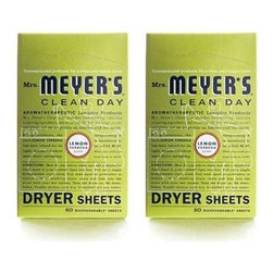 Mrs. Meyer's - Mrs. Meyer's Dryer Sheets - Lemon Verbena - Case Of 12 - 80 Sheets - Mrs. Meyer's Clean Day Lemon Verbena Dryer Sheets reduce static, soften and add a bit of garden-freshness. These dryer sheets contain a vegetable-derived softening agent and natural essential oils on a biodegradable paper sheet. The formula is made from 99% naturally derived ingredients like lemongrass oil and fir leaf oil. Pull sheet apart at perforation to reduce risk of blocking dryer vent and toss both unfolded sides into the dryer with your wet clothes. Tumble clothes until dry; then enjoy your fresh, garden-kissed clothes. Mrs. Meyer's Clean Day Dryer Sheets is hard working, biodegradable, and environmentally friendly.