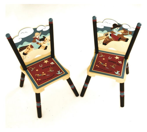 Levels of Discovery - Wild West 2 Chairs Set (Table not included) - Good Guy & Bad Guy seat backsGood Guy & Bad Guy seat backs. Set of 2 chairs. All products have instructions included for assembly. .