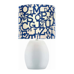 Lite Source Reiko 17-inch Ceramic Table Lamp, White with Colored Fabric Shade