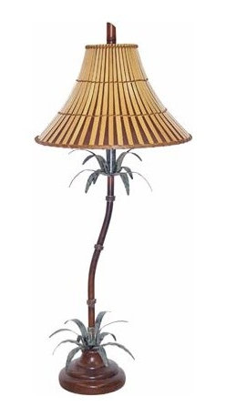 Papila Design - Tropical Dark Tea Table Lamp with Split Bamboo Shade - -Material: Metal and Resin  -Made in the USA  -Shade Shape: Round Bell  -Shade Material: Split Bamboo, Lining Papila Design - 9266-2