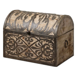 Uttermost - Uttermost 19709  Abelardo Rustic Wooden Box - Lightly stained rustic wood with ornate wrought iron metal details. hinged lid provides easy access for storage.