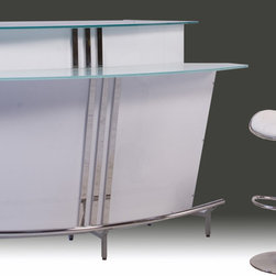 Diamond Sofa - 60 in. Arched Contemporary Bar - Dual glass tops. Inset stemware storage rack. Six large storage shelves. Chrome kick rail and base. Curved silhouette. Frosted glass shelves. Made from MDF. High gloss white finish. Assembly required. 60 in. W x 29 in. D x 41 in. H (185 lbs.)Make a resounding design statement in your home with this 60 Inch arched contemporary bar. This piece will be a stunning addition to your home's décor. This contemporary bar has all you need for hosting and entertaining family and friends.