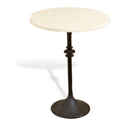 Kathy Kuo Home - Anza Tall Ivory Marble Fluted Side Table - We love a sleek, fluted table base, especially when it is topped with a classic ivory marble like this one. The lightly hammered texture and finial effect add extra visual interest to this great piece.