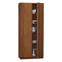 """Ameriwood - 72"""" Pantry in Inspire Cherry Finish - Color/Finish: Inspire Cherry. Material: Particle board & Metal. 1 Year limited warranty. 71-7/16 in. H x 29-15/16 in. W x 16-3/16 in. D. Made in the USAThis 72"""" Pantry with a Inspire Cherry Finish and Brushed Nickel Handles includes four fixed shelves and two adjustable shelves, it has adjustable Euro Hinges, easy to assemble with house hold tools."""