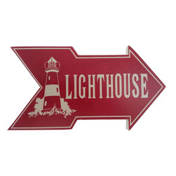 Handcrafted Nautical Decor - Wooden Arrow Lighthouse Beach Sign 10'' - Feel the cool, crisp ocean breeze blow in off the Atlantic, the tolls of harbor and ship bells ringing out through the misty morning, and enjoy this enchanting nautical themed sign. Short and sweet, the Wooden Arrow Lighthouse Beach Sign 10'' perfectly accessorizes your home, office, or even your very own vessel. With its beautiful hand painted appearance, express your love for the sea, the freedom of the open ocean, and the timelessly serene ambiance of nautical life. -- ----    Solid wooden  plank--    Handcrafted and highly detailed--    Meticulously painted nautical theme--