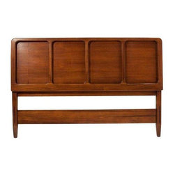 Used Mid-Century Danish Modern Paneled Walnut Headboard - This wood Mid-Century, Danish Modern headboard with a walnut finish and four paneled design is clean and simple enough to look great against any style backdrop, but also interesting enough not to go unnoticed or appear boring. It doesn't get much easier than that!