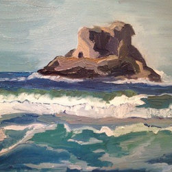 Arch Cape (Original) by Anna Kodesch - The Arch Cape rock on the Oregon coast is an iconic formation along the coast. It can be viewed from many different beaches and is a very beautiful scene.