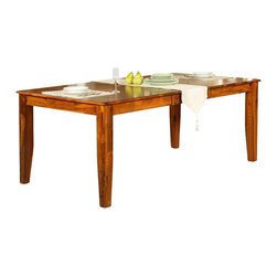 Steve Silver Co. - Mango Solid Wood Dining Table w Butterfly Lea - Includes table & butterfly leaf. 18 in. butterfly leaf. Expands to 78 in. L. Multi-step Rich Cherry finish. Transitional style. Corner block construction. Tongue and groove joints. Select hardwood solids material. Some assembly required. Solid wood construction. 60 in. L x 42 in. W x 30 in. H (135 lbs.)