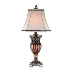OK LIGHTING - Wood Wooden Lamp: 32 in. Wooden Color Table Lamp OK-4190T - Shop for Lighting & Fans at The Home Depot. 32 in. table lamp. Very elegant neoclassical lamp. Linen bell lamp shade with black trim. Lamp is a glossy brown with a mix of dark metal finish designs. Granite like embellishment. It s for any of room. The instruction is included and easy to install.