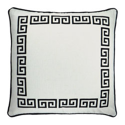 "NECTARmodern - Greek Key (white/black) embroidered throw pillow 20"" x 20"" - Exert style and sophistication with this updated take on a traditional Greek Key motif. White linen front with black embroidery. Rolled contrast piping around the edge. Designer quality cover with overstuffed feather/down insert."