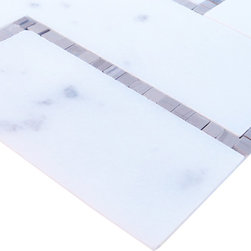 "Sample-Cul De Sac Athens Gray and Asian Statuary Marble Tile Sample - sample-Relic Gray Wood 1/4 Sheet Marble Tiles Sample  You are purchasing a 1/4 sheet sample measuring approximately 6"" x 6"" with  via USPS.   -Glass Tiles -"