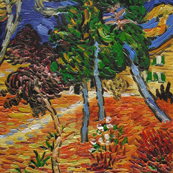 """overstockArt.com - Van Gogh - Trees in the Garden of St. Paul Hospital - 8"""" X 10"""" Oil Painting On Canvas Hand painted oil reproduction of a famous Van Gogh painting, Trees in the Garden of St. Paul Hospital. The original masterpiece was created in 1889. Today it has been carefully recreated detail-by-detail, color-by-color to near perfection. Vincent Van Gogh?s restless spirit and depressive mental state fired his artistic work with great joy and, sadly, equally great despair. Known as a prolific Post-Impressionist, he produced many paintings that were heavily biographical. This work of art has the same emotions and beauty as the original. Why not grace your home with this reproduced masterpiece? It is sure to bring many admirers!"""