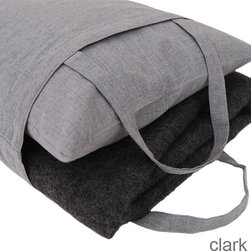 """Area - Travel Blanket/Pillow Set - Area - We may not all be jet-setters but that doesn't mean we don't deserve a little comfort when we travel. Ditch the airline poly-blend blanket for this absolutely luxurious travel kit from Area bedding. The set includes a cozy cotton blanket (40"""" x 60""""), a cotton pillow with feather insert (11"""" x 15"""") and a convenient carrying bag that helps keep it all stored and organized."""