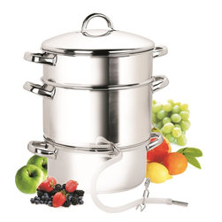 Cook N Home - Cook N Home 11-Quart Stainless-Steel Juicer Steamer - With a 11-quart capacity, this juicer steamer offers plenty of room for high-volume juicing, Simply add fresh fruit in the top container, fill the bottom container with water, and bring to a boil on the stove top. The resulting steam gently extracts the juice, which drips into the center pan where it can be collected from the surgical-quality tube. Drink the vitamin-rich juice fresh, or save it for making jelly or syrup. Without the center pan and tube, the juicer steamer can also be used to steam vegetables on the stove top. Ruggedly built, the juicer steamer features gleaming stainless-steel construction with a bottom that consists of a layer of aluminum sandwiched between two layers of stainless steel for fast, even heat distribution. Side loop handles on each of the three vessels help ensure safe, secure transport, and its secure-fitting lid with a loop handle helps keep in heat, moisture, and nutrients. Instructions and a recipe book come included.