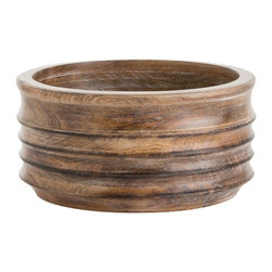 Arteriors - Kade Container - Small - These solid mango wood bowls have been hand turned to create the irregular horizontal rings. The washed tobacco finish enhances the irregular surface design. Dry food safe.
