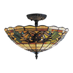 Elk Lighting - Elk Lighting 942-VA Tiffany Buckingham Buckingham Traditional Tiffany Semi Flush - The Tiffany Buckingham collection sports our popular iron hardware and has a new stained glass design for a fashion-forward aesthetic.
