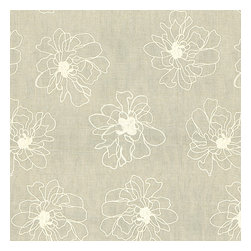 Ivory & Gray Embroidered Peony Linen Fabric - Serenely sophisticated embroidery of ivory outlined blossoms on lightweight gray linen.Recover your chair. Upholster a wall. Create a framed piece of art. Sew your own home accent. Whatever your decorating project, Loom's gorgeous, designer fabrics by the yard are up to the challenge!