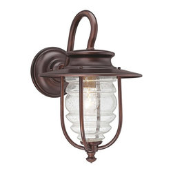 "Minka Lavery - Country - Cottage Spyglass Cove 14"" High Bronze Outdoor Wall Light - Add a little style to your house with this outdoor wall light. Finished in bronze with clear seedy glass for warm style. From the Minka Lavery Spyglass Cove collection this design makes it easy to stay safe and secure. Bronze finish. Clear seedy glass. Maximum 100 watt or equivalent bulb (not included). 14"" high. 9"" wide.  Bronze finish.  Clear seedy glass.  Maximum 100 watt or equivalent bulb (not included).  14"" high.  9"" wide."