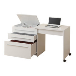 Monarch Specialties - Monarch Specialties 7031 Slide-Out Desk with Storage Drawers in White - This sleek contemporary work station offers a compact work space that is ideal for apartments, condos, or small homes. With clean lines in a warm white finish, this desk will blend easily with your home decor. The top surface extends to the side, with casters at the base for easy mobility, creating a knee hole space for comfortable seating at this desk. A storage space is revealed to keep your desk supplies organized, with a medium storage drawer and convenient lateral file drawer below. Add this desk to your home for a functional workstation, where ample storage options, excellent functional features, and sophisticated style come together.