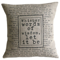 Contemporary Pillows The Beatles Quote Burlap Pillow