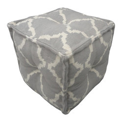 Jaipur - Cadiz Pouf, Pearl - You can get it all — cool color, bold pattern and extra seating — with this pouf. It's hand woven from 100 percent cotton and stitched together in a soft cube for casually modern appeal. Store two under a console or scatter a few around your media room for those times when you have more guests than chairs — or just want to put your feet up in comfort and style.