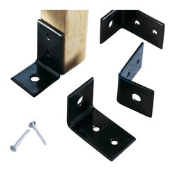 Oxford Garden - Powder Coated Bench Anchors (Includes 4) - Use these anchor brackets to secure furniture in busy or public areas or to prevent unwanted movement. Powder coated with stainless steel hardware, these brackets come in sets of four with ten screws.