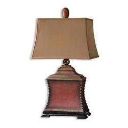 Uttermost - Pavia Rustic Accent Lamp - This  rustic  accent  lamp  features  a  dark  rusty  red  finish  over  a  woven  textured  base.  With  silver  beaded  accents,  a  black  base,  and  a  dark  tan  rectangle  shade,  this  lamp  is  great  for  any  rustic  decor.  To  see  our  complete  line  of  lamps,  click  here.