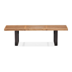 Zuo - Heywood Double Bench, Natural - The Heywood Double Bench is a class of Mid-Century Modernism.  This piece is made completely of natural wood and functions as well as it looks in any space.  Goes great in entryways, living rooms and keeping rooms.  Available in natural and black.