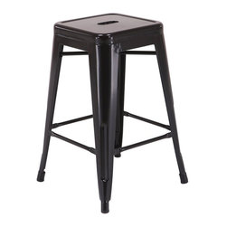 "Office Star - Office Star Patterson 24"" Steel Backless Barstool in Black (Set of 2)-Set of 4 - Office Star - Bar Stools - PTR3024A43 - Simple elegant chair featuring powder coated steel frame and clean modern design. Always ready to serve you with style these chairs are designed to add elegance to your life. Backless design is easy to store while metal frame is easy to maintain and clean. Elegant design with a modern touch these gorgeous Patterson Metal Chairs come fully assembled for your convenience."