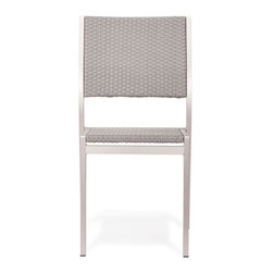 Grandin Road - Metropolitan Dining Chair - Sleek collection with brushed aluminum frames. Select an Armchair, Slatted Armchair, Side Chair, Bench, and Dining Table; each piece is sold separately. Armchair features teak wood armrests. Armchair and Side Chair feature woven seats and backs. Slatted Armchair offers a teak wood seat and back slats. Introduce the modern lines of our Metropolitan outdoor dining Collection to your porch or patio. Versatility abounds with four seating options to surround the teak-top table. Natural teak details and woven seats and backs add extra warmth to the brushed aluminum frames.. . . . . Dining table and bench have slatted teak tops. All pieces arrive assembled. Clean surfaces with a dry cloth, teak with wood cleaner. Imported.