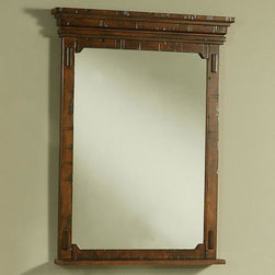 Milltown Vanity Mirror with Shelf - The Milltown Vanity Mirror features a distressed look with band-saw and circular saw marks. No two pieces are exactly alike. Pair this mirror with the Milltown Cabinet, sold separately.