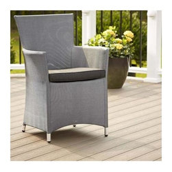 Cosco Office - Outdoor Textilene Dining Chair - Includes tailored cushion. Weather resistant aluminum frame. Comfortable design and lightweight. High performance PVC coated sling. UV, tear and mildew resistant. Easy maintenance and cleaning. Contemporary lines. Warranty: One year. Platinum and black finish. 23.6 in. W x 22.83 in. D x 33.1 in. H (11 lbs.)Versatile chair set built to withstand the outdoor weather while also stylish enough to add design inside the home. The chair is then covered with a textilene fabric and soft seat cushion. These chairs can be easily moved to fit any occasion.