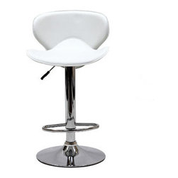 """LexMod - Booster Bar Stool in White - Booster Bar Stool in White - The Booster Bar Stool is a great choice for folks who want a bar stool with the comfort of an ergonomic shape. The seat is as comfortable as the back is supportive and the winged design makes this stool stand apart from the rest. Set Includes: One - Booster Bar Stool Leatherette Seat, Chrome Frame, 360 Degree Swivel, Hydraulic Adjustable Height, Chromed Base Overall Product Dimensions: 19.5""""L x 17.5""""W x 31.5 - 40""""H Seat Height: 21.5 - 30""""H - Mid Century Modern Furniture."""