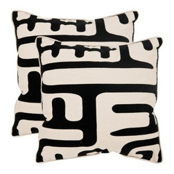 Safavieh Maize Decorative Pillows - Black - Set of 2 - You'll love the contemporary look and design of the Safavieh Maize Decorative Pillows - Black - Set of 2. With a bold black and white pattern that is made to stand out, these pillows are beautiful and stunning. Crafted from 60% linen and 40% cotton, these pillows have a hypoallergenic fiberfill insert and a sectored zipper closure. Available in your choice of size, these pillows can be spot cleaned as necessary. About SafaviehConsidered the authority on fine quality, craftsmanship, and style since their inception in 1914, Safavieh is most successful in the home furnishings industry thanks to their talent for combining high tech with high touch. For four generations, the family behind the Safavieh brand has dedicated its talents and resources to providing uncompromising quality. They hold the durability, beauty, and artistry of their handmade rugs, well-crafted furniture, and decorative accents in the highest regard. That's why they focus their efforts on developing the highest quality products to suit the broadest range of budgets. Their mission is perpetuate the interior furnishings craft and lead with innovation while preserving centuries-old traditions in categories from antique reproductions to fashion-forward contemporary trends.