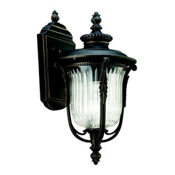 KICHLER - KICHLER Luverne Traditional European Outdoor Wall Sconce X-ZR10094 - European details, including elegant beaded trim and delicate botanical accents, are accentuated by a Rubbed Bronze finish on this Kichler Lighting outdoor wall sconce. From the Luverne Collection, a clear ribbed glass shade adds visual interest and completes the look.
