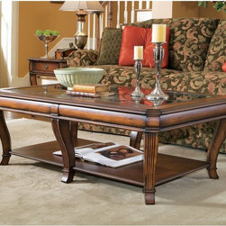 Hooker Furniture - Hooker Furniture Brook Haven 3 Piece Rectangular Coffee Table Set Multicolor - H - Shop for Tables from Hayneedle.com! The Hooker Furniture Corporation Brookhaven Rectangular Cocktail Table a stylish and sophisticated table is an ideal addition to your living room furniture. With a durable construction of hardwood solids this cocktail table is built to last for many years. Cherry veneers add to their elegance and strength. A glass top fluted legs and the smooth finish make this table visually appealing. Apart from this the table has a lower shelf for keeping books newspapers or magazines. Not available for sale in or delivery to the state of California.