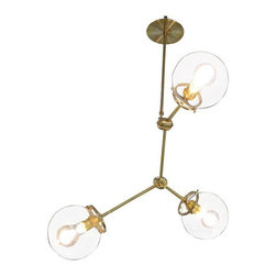 Studio PGRB Brass Three Globe Chandelier - This custom three globe chandelier is a hip contemporary alternative to a dining room or foyer chandelier.  Available in brass or nickel finish.  Contact us for details and pricing for custom sizes and adding more globes.  This is a custom item and will take 8 to 10 weeks to build.