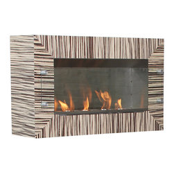 Terra Flame - Shelter Standard Wall Firespace - They say a zebra can't change his stripes, but don't tell that to this new take on the traditional fireplace. Not only is it taking a cozy fire where it's never been before — namely, up a wall —  it's also wrapped in a striped zebra wood facade that's anything but expected. Clean burning fuel means you won't need a chimney for it either. Made to order.